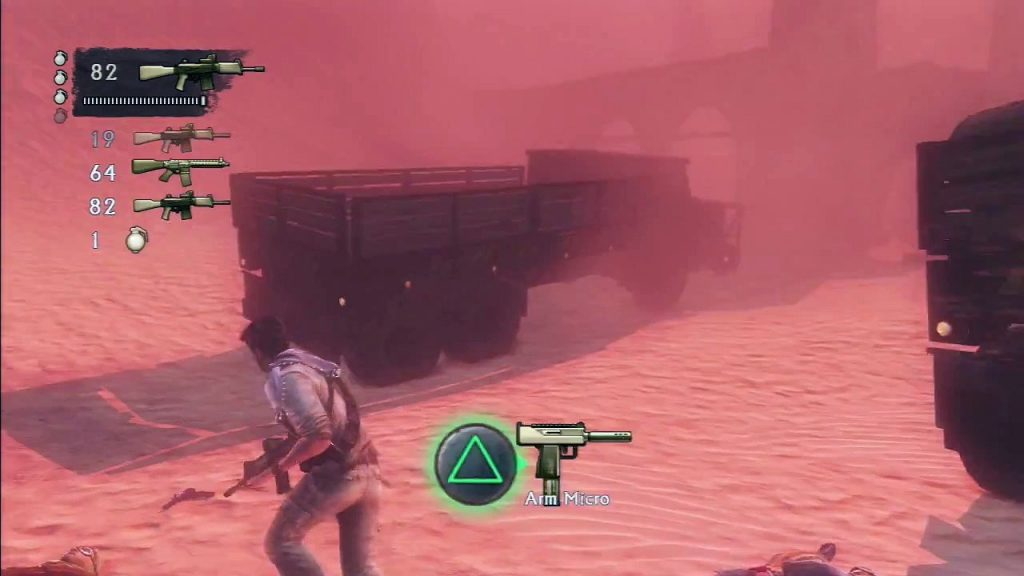 The starting area to the desert sandstorm combat arena.