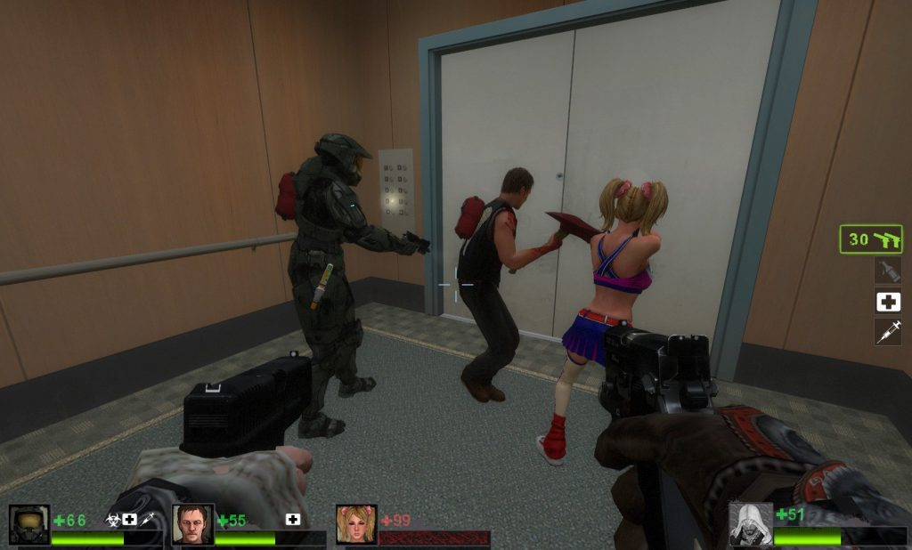 Master Chief, Daryl Dixon, Juliet Starling, and Ezio Auditore shoot zombies, brought to you by mods.