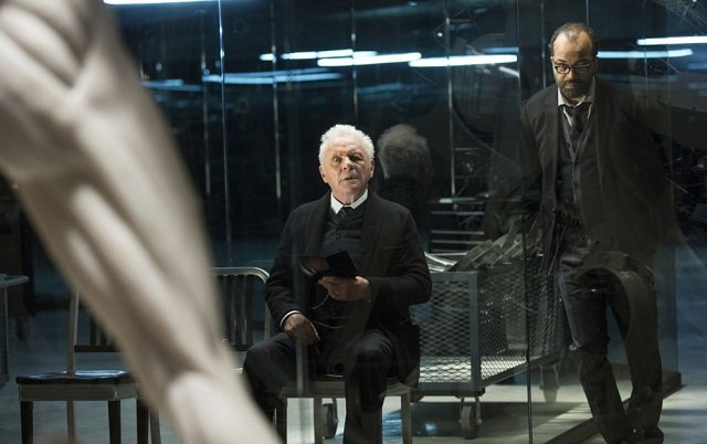 Bernard Lowe and Dr. Robert Ford, two of the overseers of the fantastical Westworld.