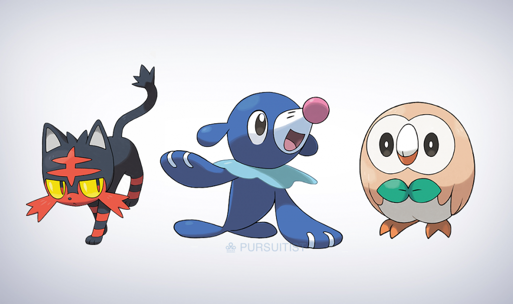 These are Pokemon Sunès starters, and you better believe I picked that sweet ass cat.