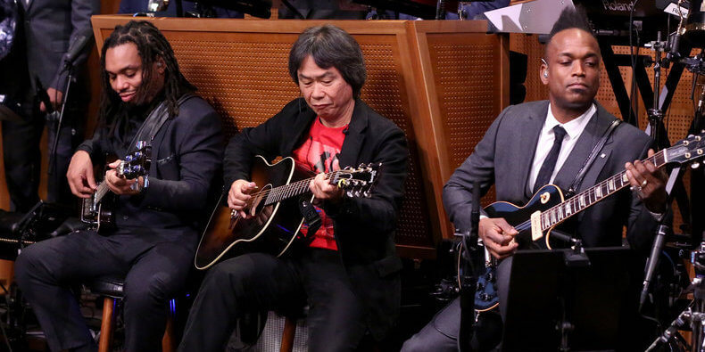 Miyamoto and The Roots jamming out during The Tonight Show