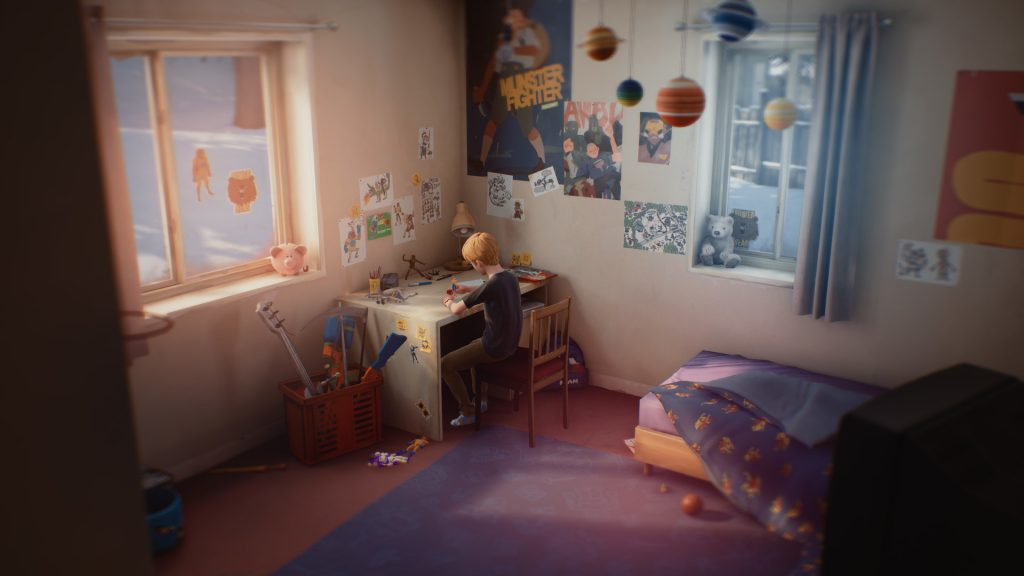 Chris's bedroom, aka Captain Spirit HQ, contrast starkly with the rest of the Eriksen house