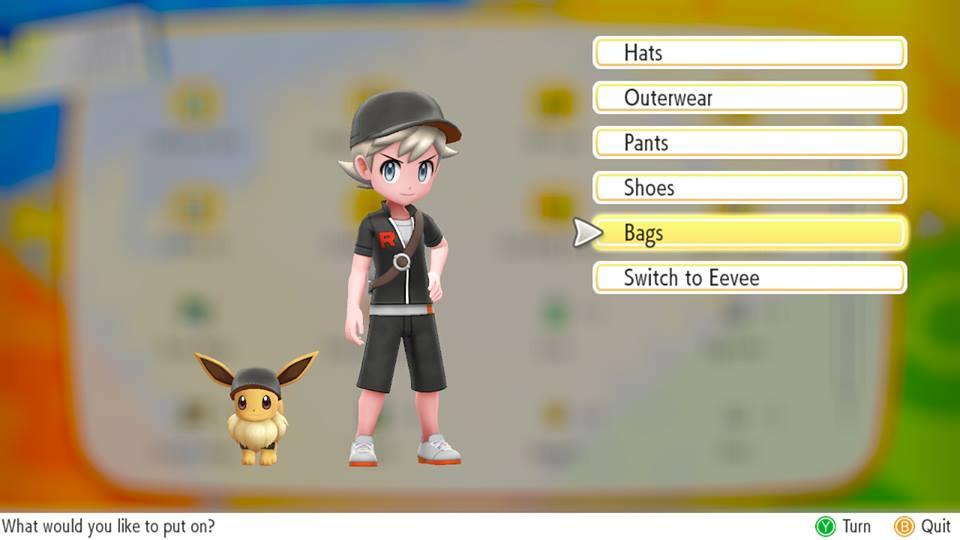Pokémon let's go outfit selection