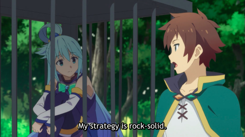 Konosuba Aqua questions Kazuma's plans.