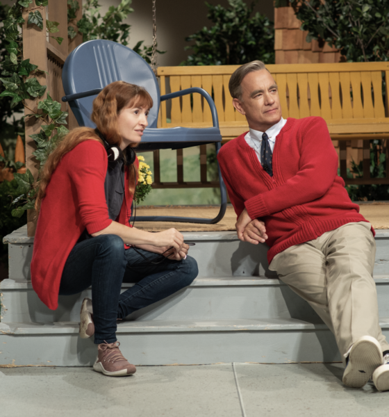 """Tom Hanks and director Marielle Heller of """"Won't You Be My Neighbor"""" (Lacey Terrell/ Sony Pictures)"""