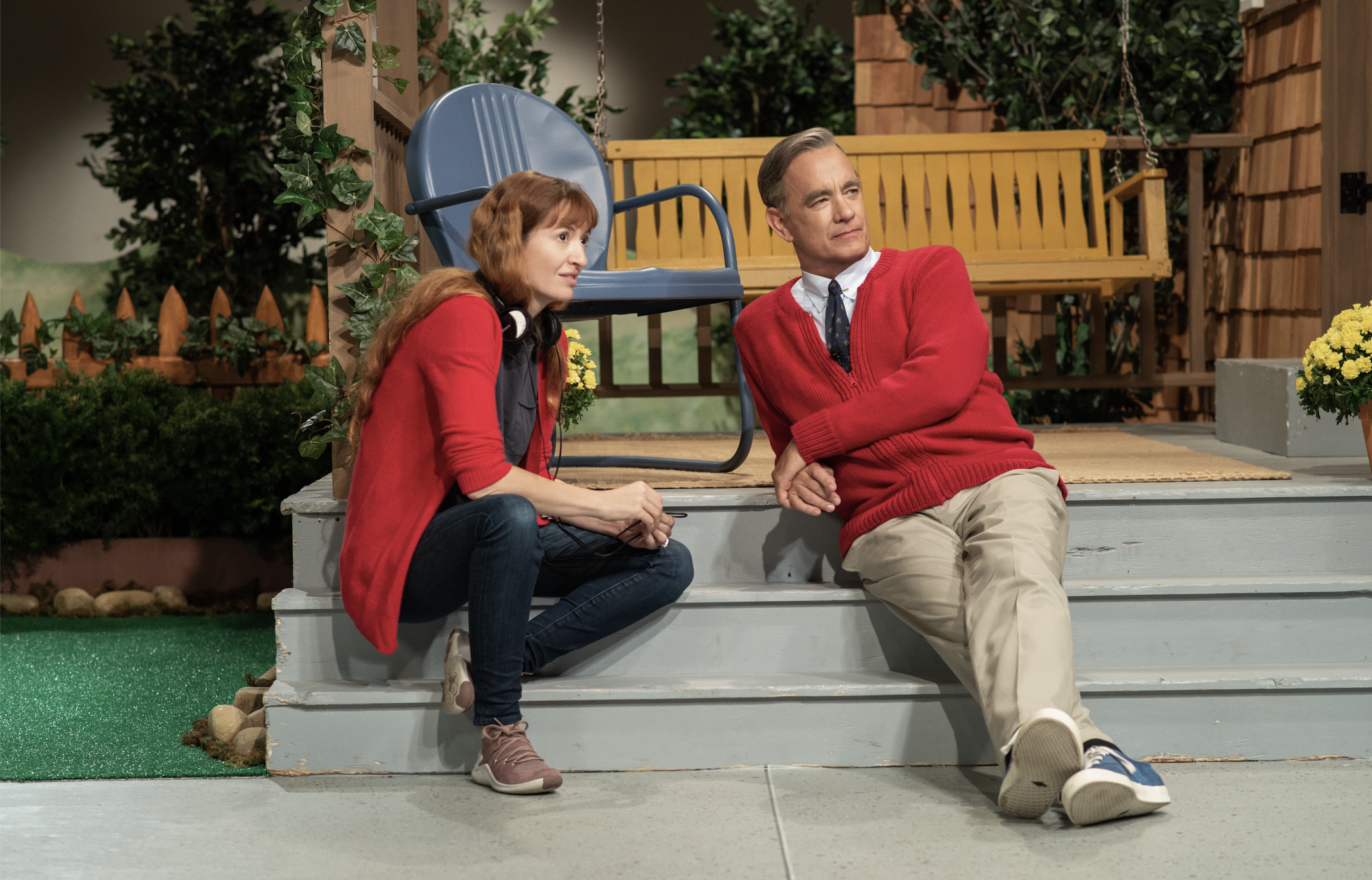 "Tom Hanks and director Marielle Heller of ""Won't You Be My Neighbor"" (Lacey Terrell/ Sony Pictures)"