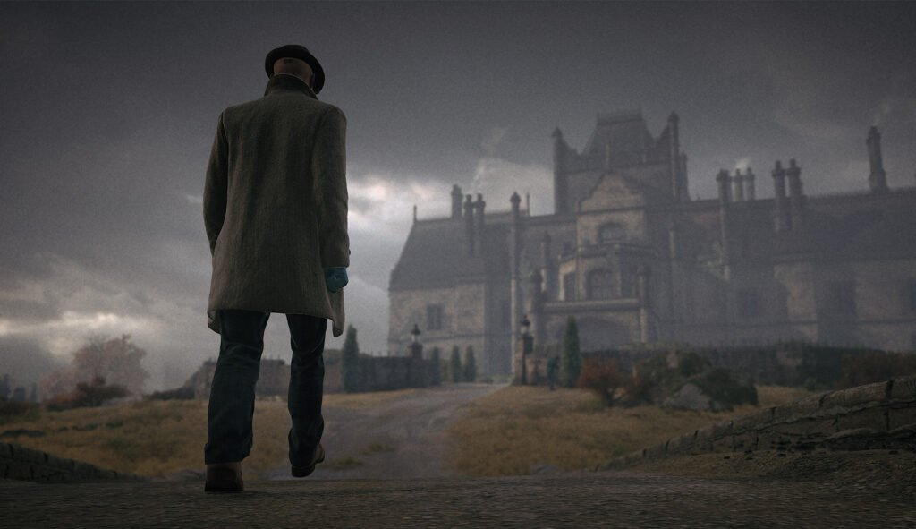 Agent 47 walks towards Carlisle Mansion dressed as a Detective