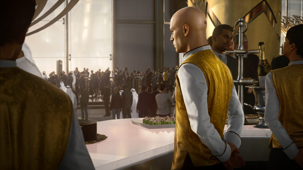 Agent 47 tends a bar while dressed as a bartender