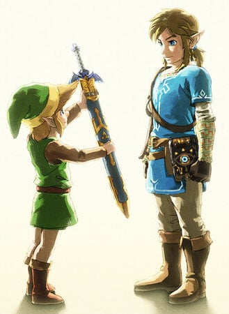 Link and BotW Link (image courtesy of Zelda Gamepedia)