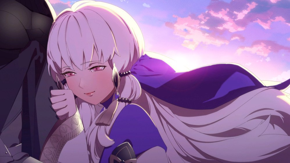 An image of Lysithea's S support scene war phase
