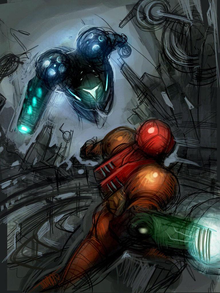Samus vs Dark Samus - image courtesy of wikitroid