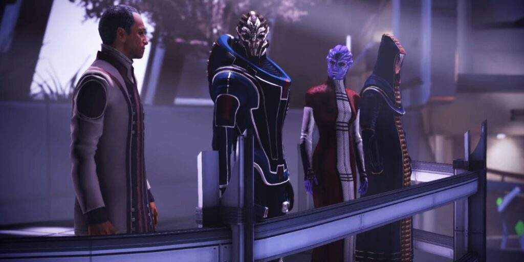 The Turian (left), Asari (center), and Salarian (right)-led Council act as a constant reminder that humanity isn't the dominant species in the galaxy.