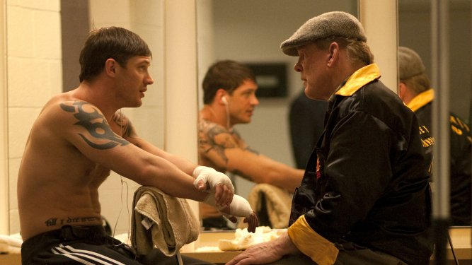 Tom Hardy and Nick Nolte in Warrior.