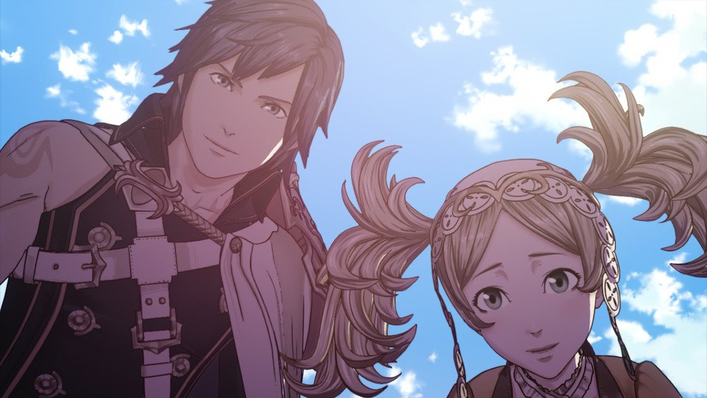 An image from a cutscene in Fire Emblem Awakening, depicting Chrom and Lissa standing over the player character. easter eggs