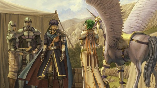 A cg from Path of Radiance, depicting Ike and Elincia.