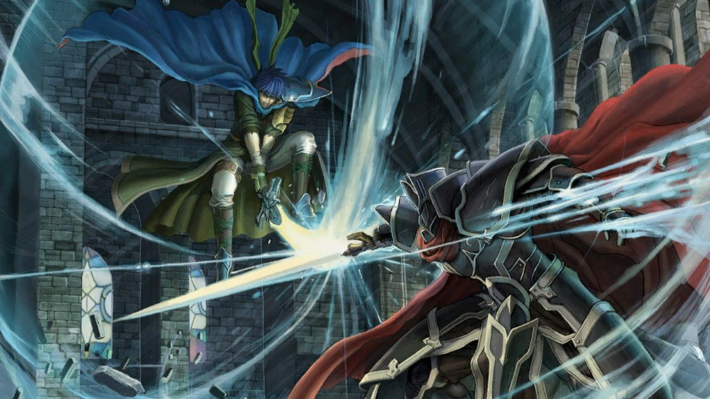A cg from Path of Radiance, depicting Ike fighting the Black Knight.