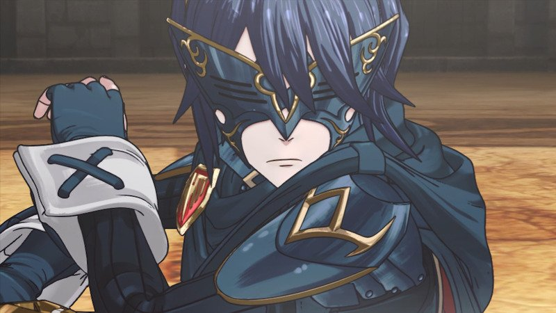 An image from a cutscene in Fire Emblem Awakening, depicting Marth in battle. easter egg