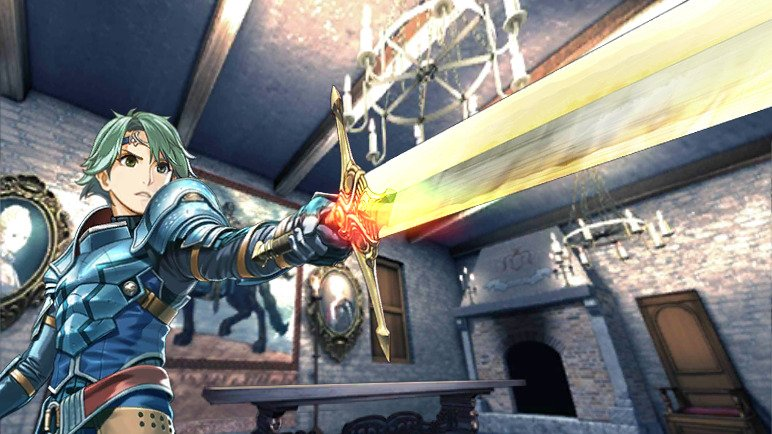 Artwork from Shadows of Valentia, depicting Alm holding a blade.