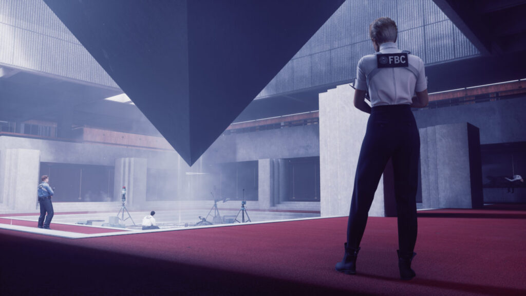 Control FBC worker observing pyramid.
