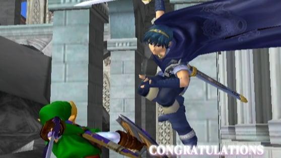 Super Smash Bros. Marth's Adventure Mode end screen.  Melee.