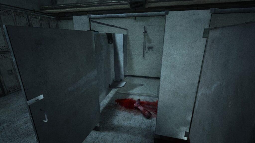 Outlast: severed leg in restroom